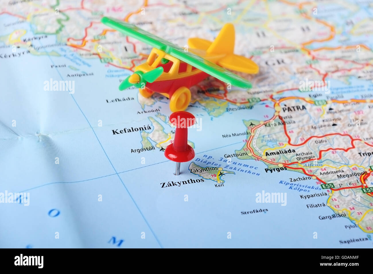 Close up of Zakynthos island Greece map and airplane toy Stock