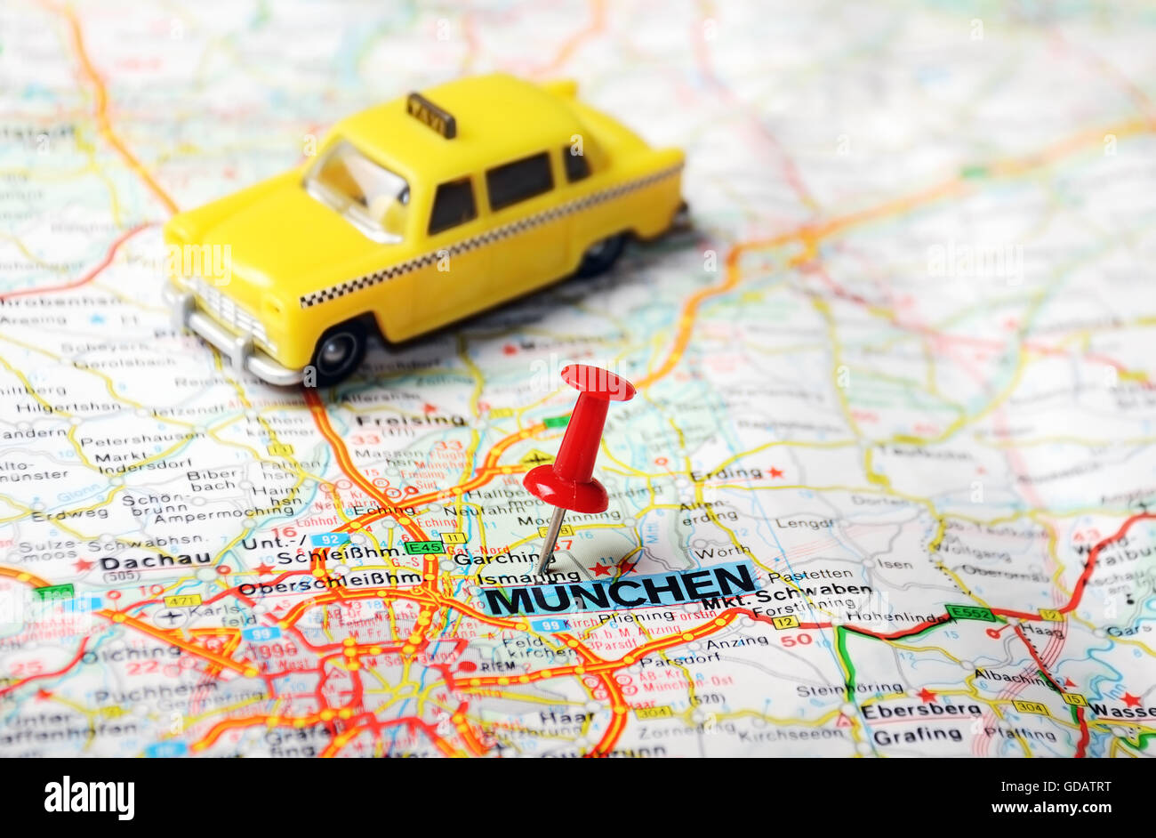 Close up of Munchen Germany map with red pin Travel concept Stock