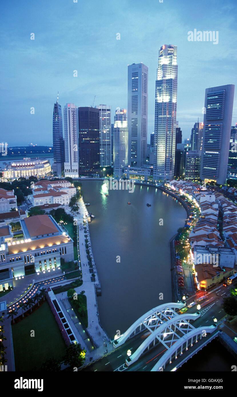 Die Innenstadt von Singapur in Suedostasien. - Stock Image