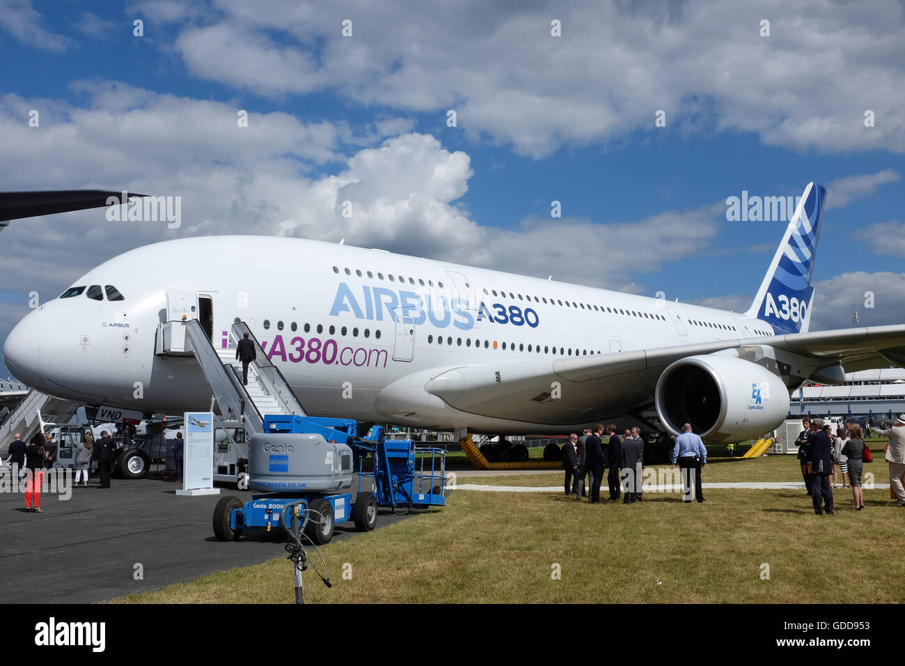 An Airbus A380 on show at the Farnborough Airshow near London, England, in 2016. - Stock Image