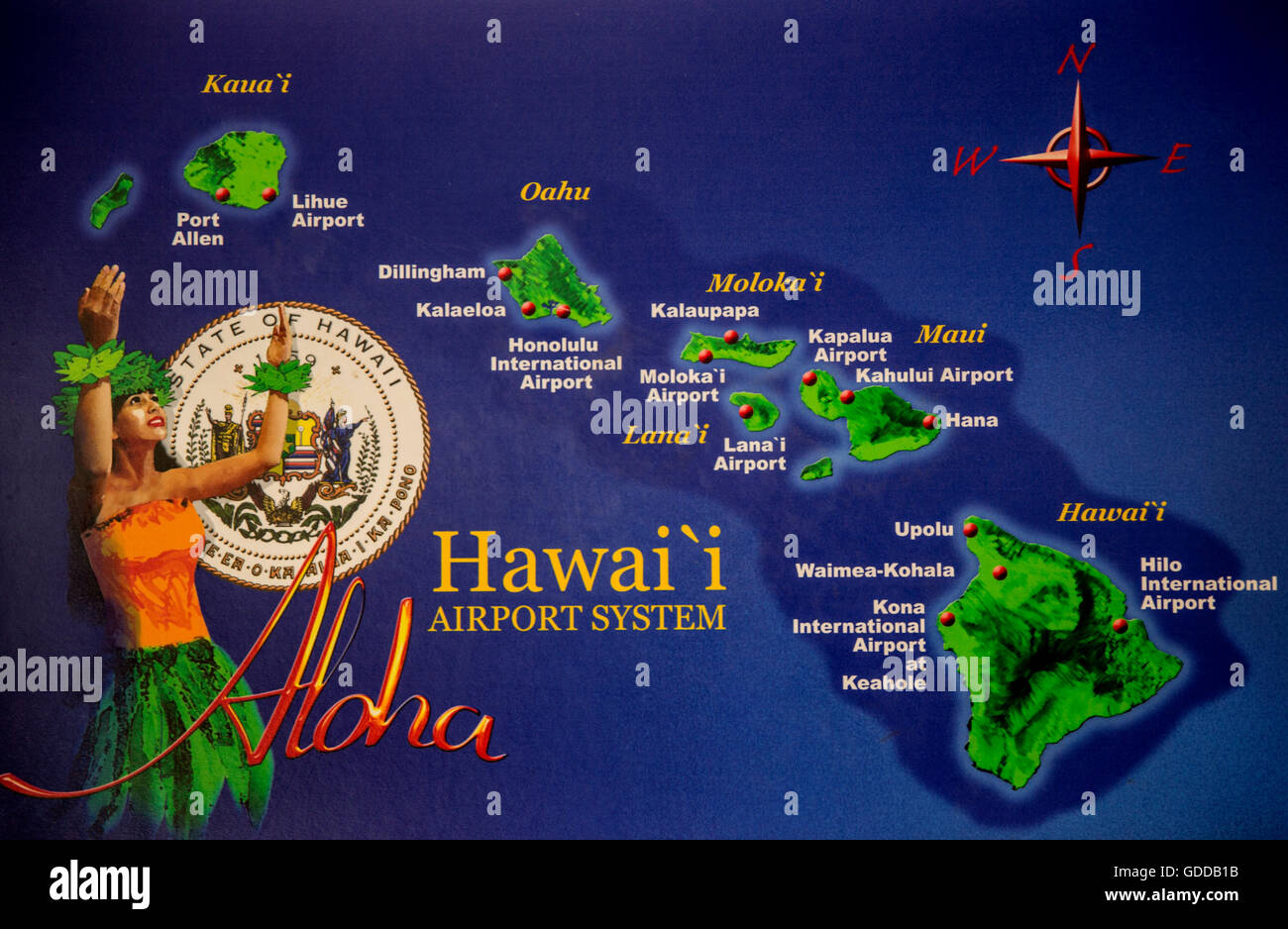 Airports In Maui Hawaii Map.Honolulu Oahu Map Airports Usa Hawaii America Islands Isles Stock