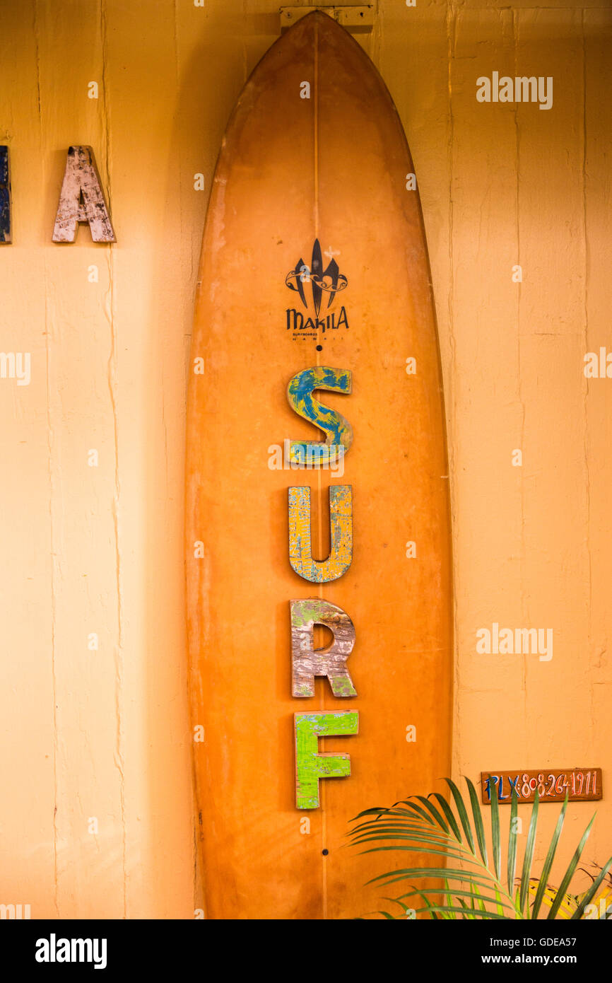 Maui,sign,shop,Paia,USA,Hawaii,America, - Stock Image