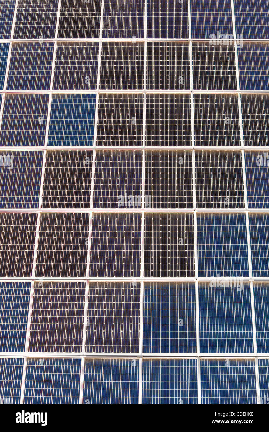 Close-up of photovoltaic solar cells - Stock Image