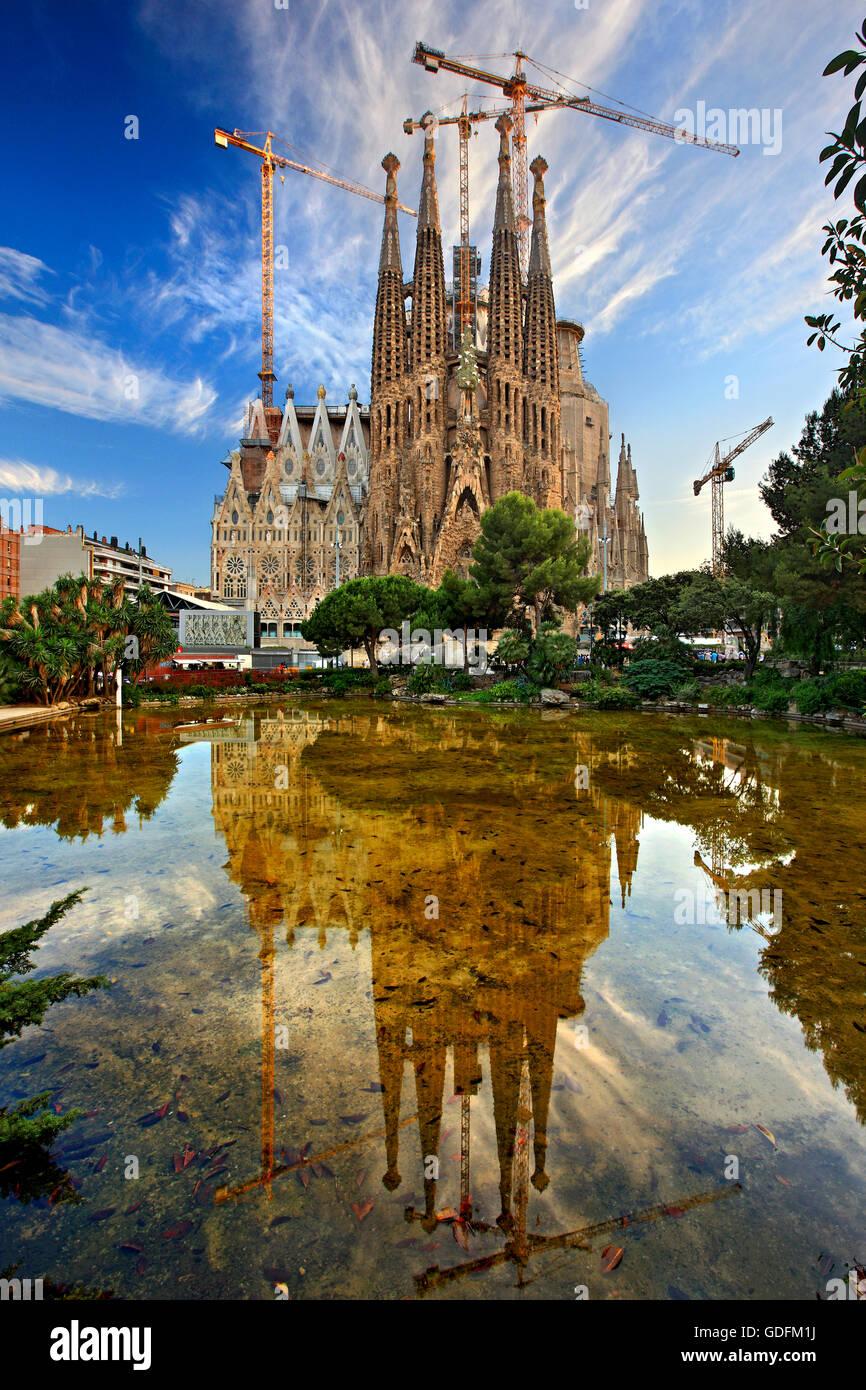 The Sagrada Familia, the masterpiece of architect Antoni Gaudi and 'trademark' of Barcelona, Catalonia, - Stock Image