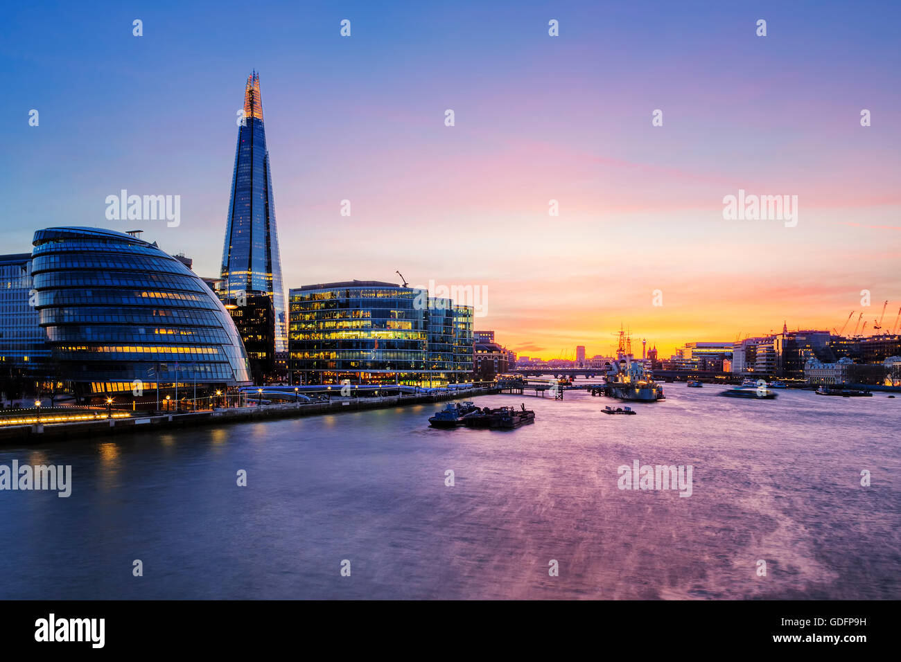 View of London city at sunset. - Stock Image