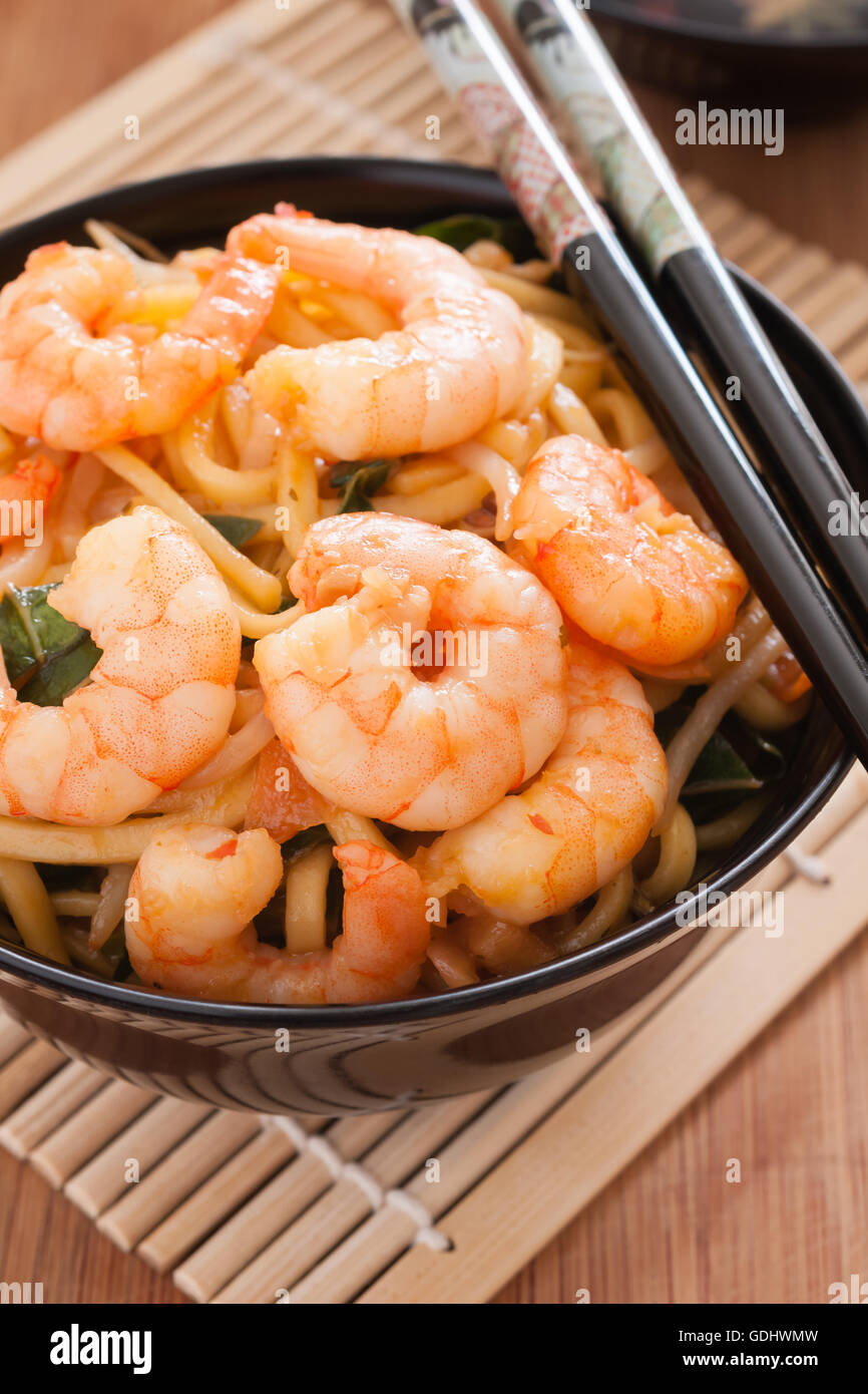 Prawn Chow Mein or Lo Mein stir fried prawns with egg noodles vegetables and bean sprouts Stock Photo