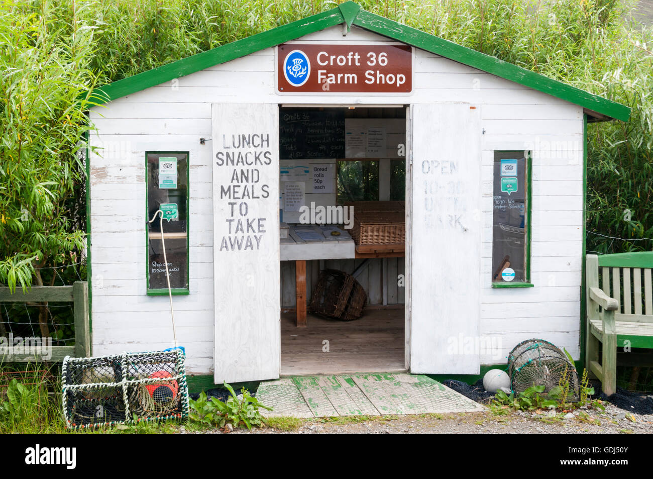 The Croft 36 Farm Shop at Northton on the Isle of Harris, Outer Hebrides. Stock Photo