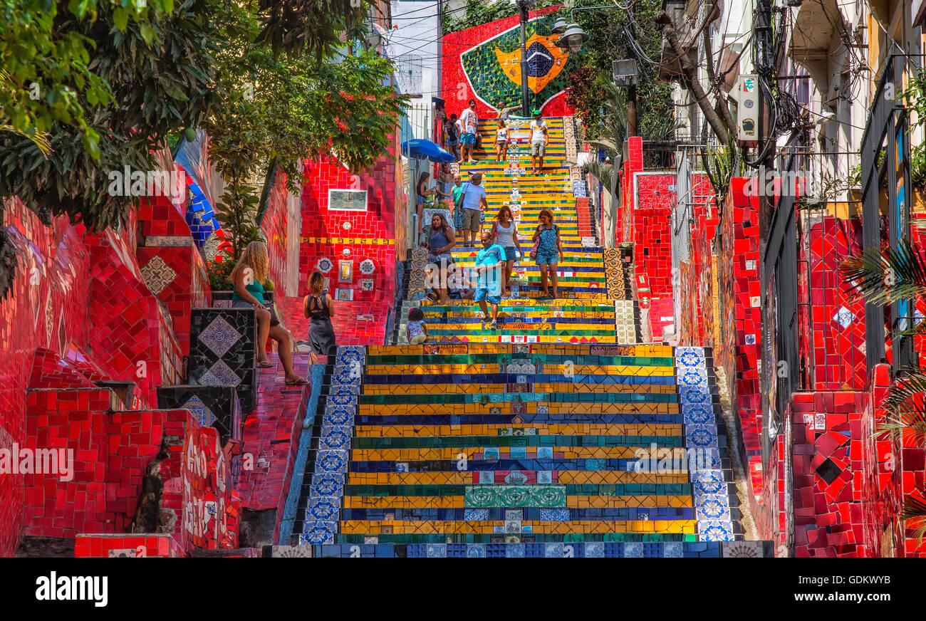 The Escadaria Selaron steps in Rio de Janeiro - Stock Image