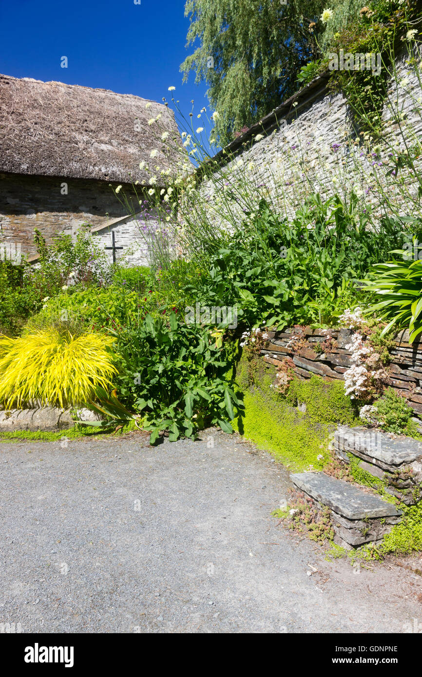 The Sunken garden at the Garden House, Buckland Monachorum, Devon, UK within the walled garden Stock Photo