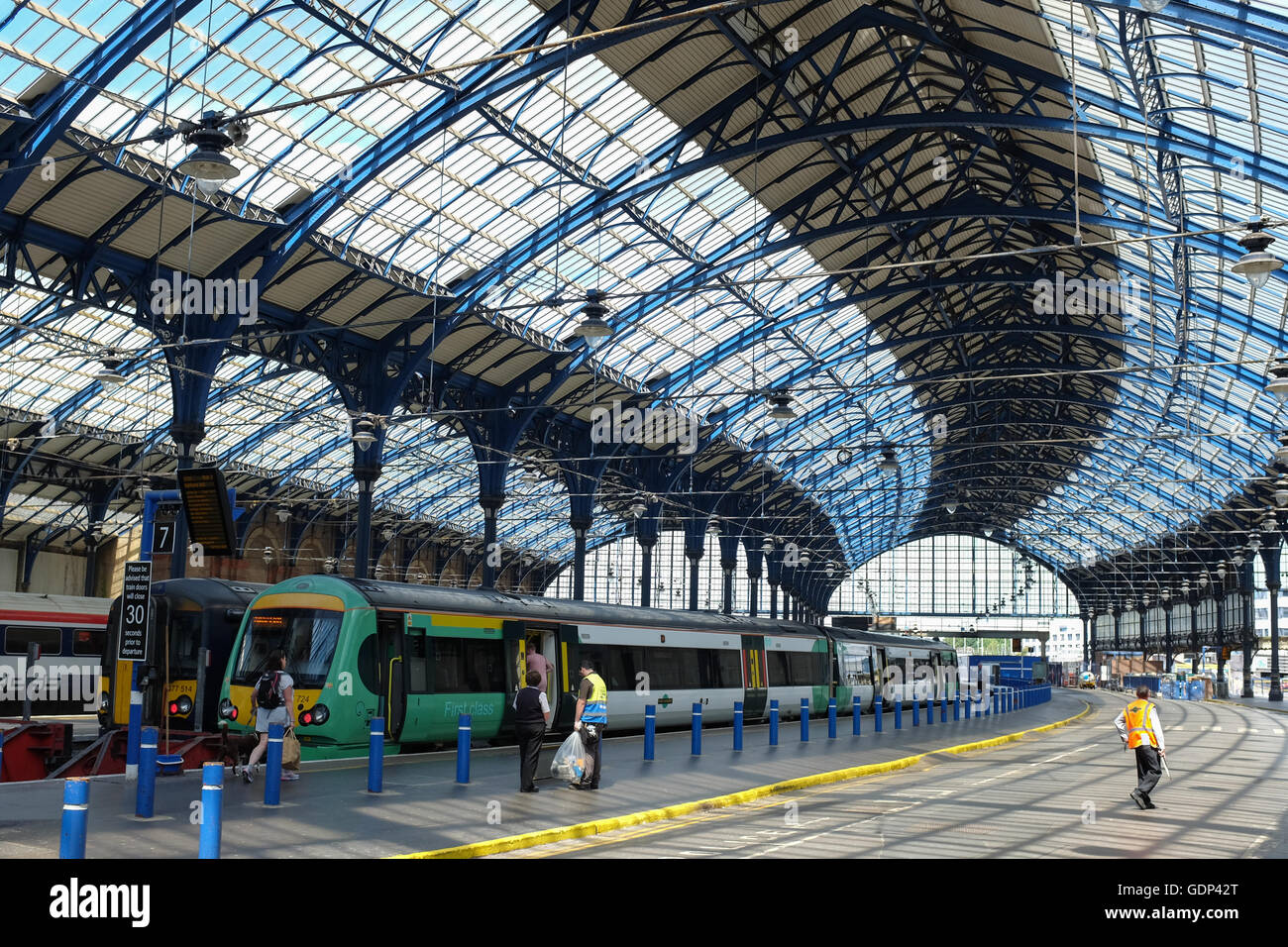 Brighton train station on the south coast of England. - Stock Image