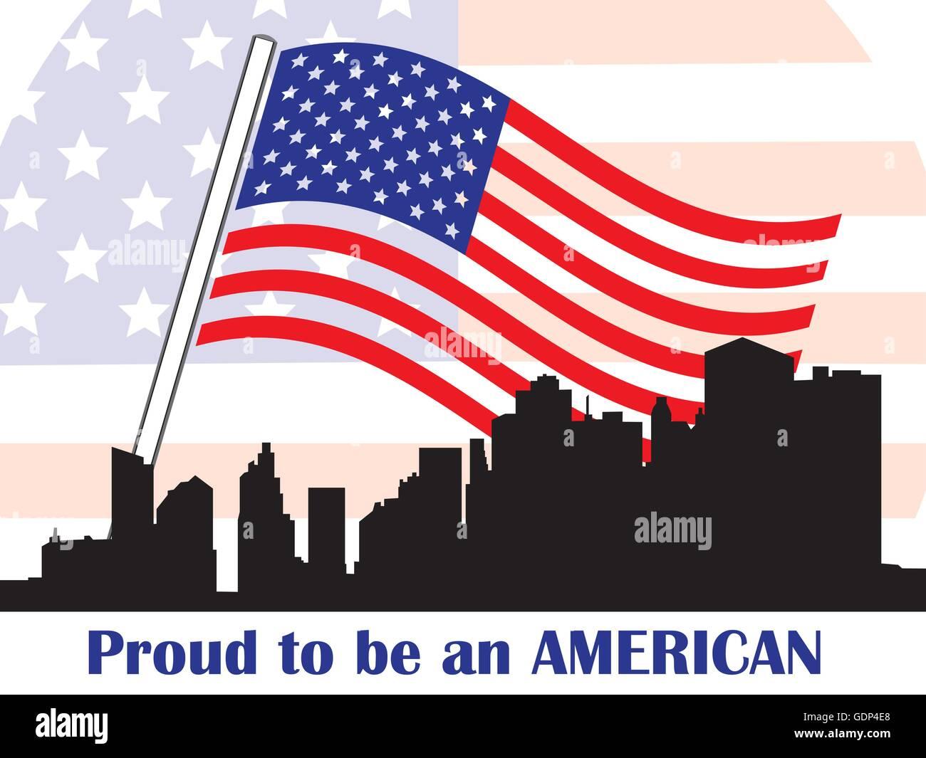 Conceptual Illustration Of Patriotic American Symbols With American