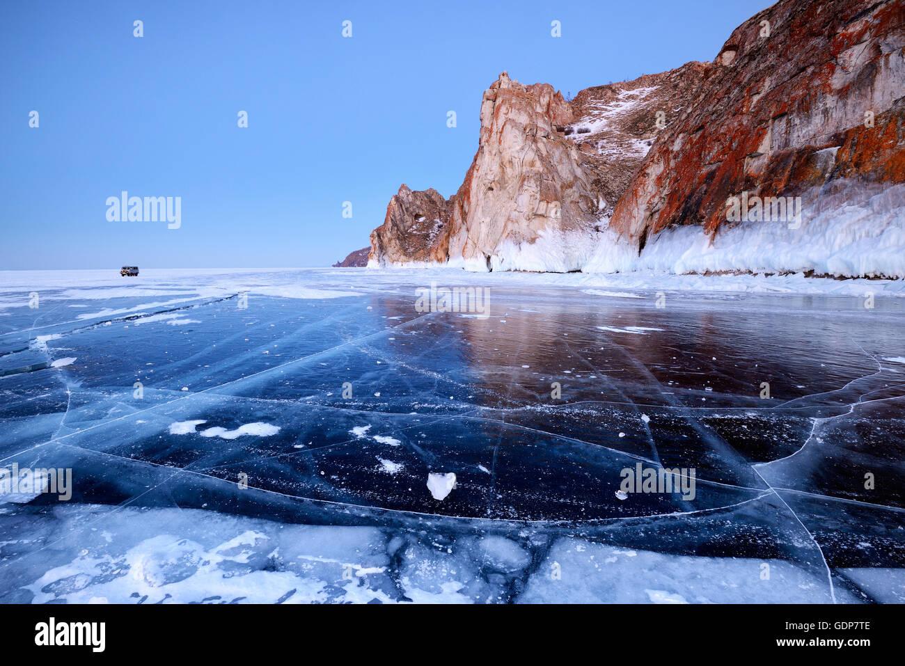 Cape Sagan Khushun and Three Brothers Rock, Baikal Lake, Olkhon Island, Siberia, Russia - Stock Image
