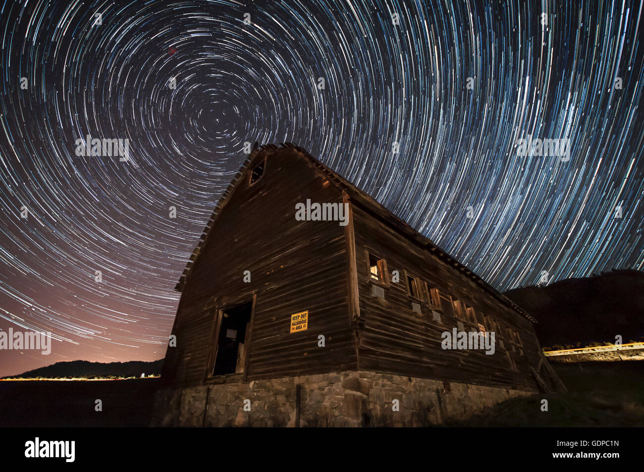Long exposure of stars in the night sky,  Haynes Ranch Buildings Preservation Project, Oliver, British Columbia, - Stock Image