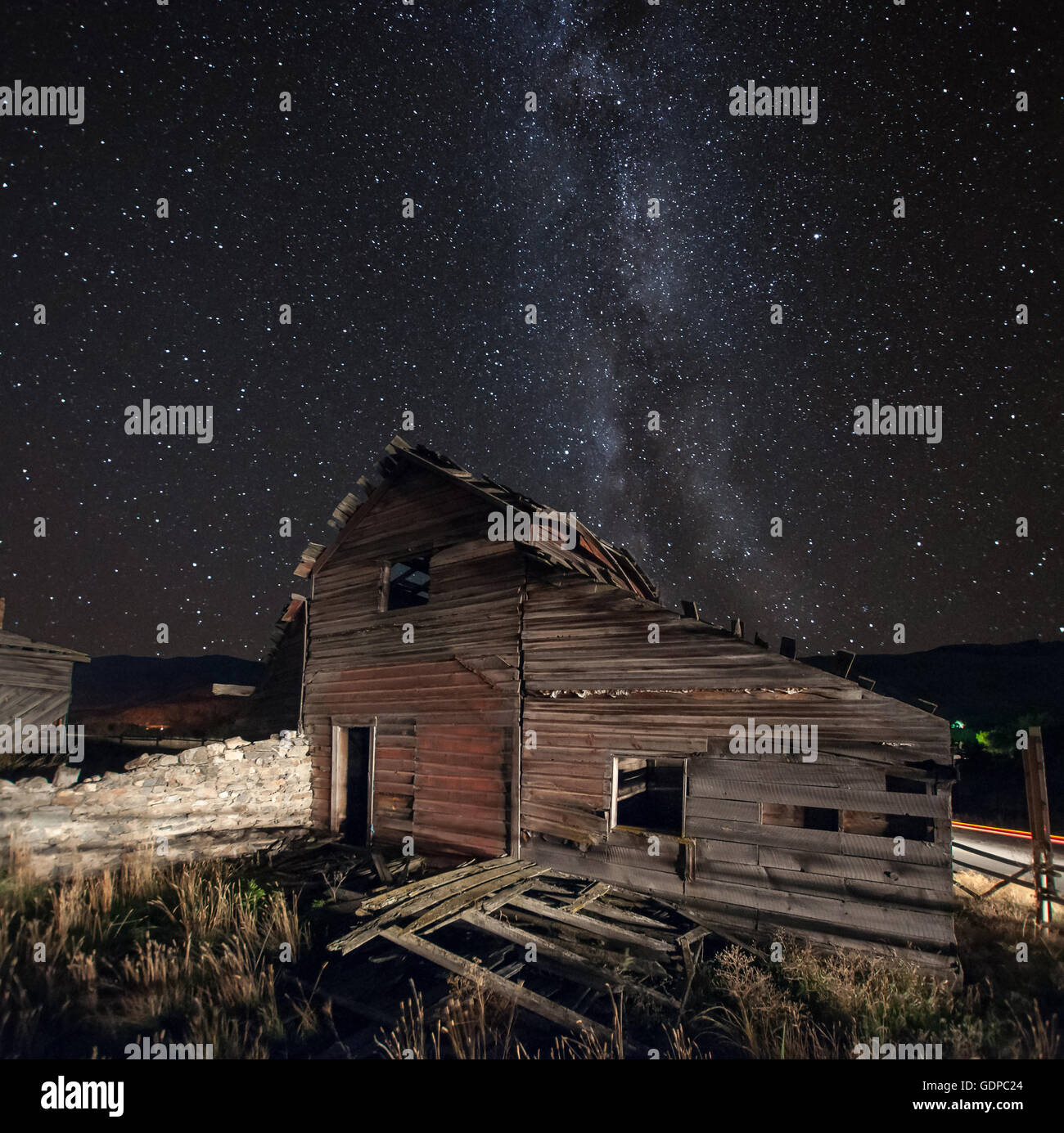 Milky way, haynes ranch buildings preservation project, Oliver, British Columbia, Canada - Stock Image