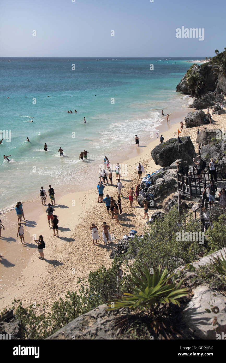 the beach at the the old mayan city of tulum in mexico Stock Photo