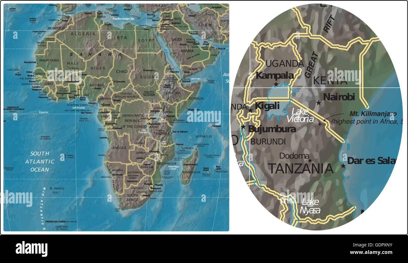 Uganda Burundi Kenya Tanzania and Africa map Stock Vector Art ...