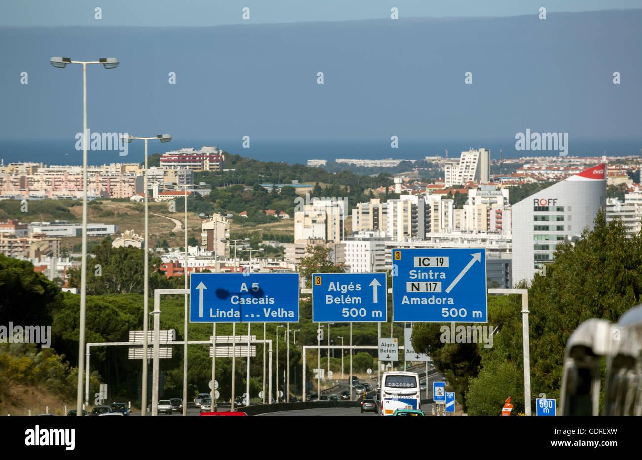 Road sign with regard to Belem and Sintra, Lisbon, District of Lisbon, Portugal, Europe Sintra, Lisbon, Lisbon, - Stock Image