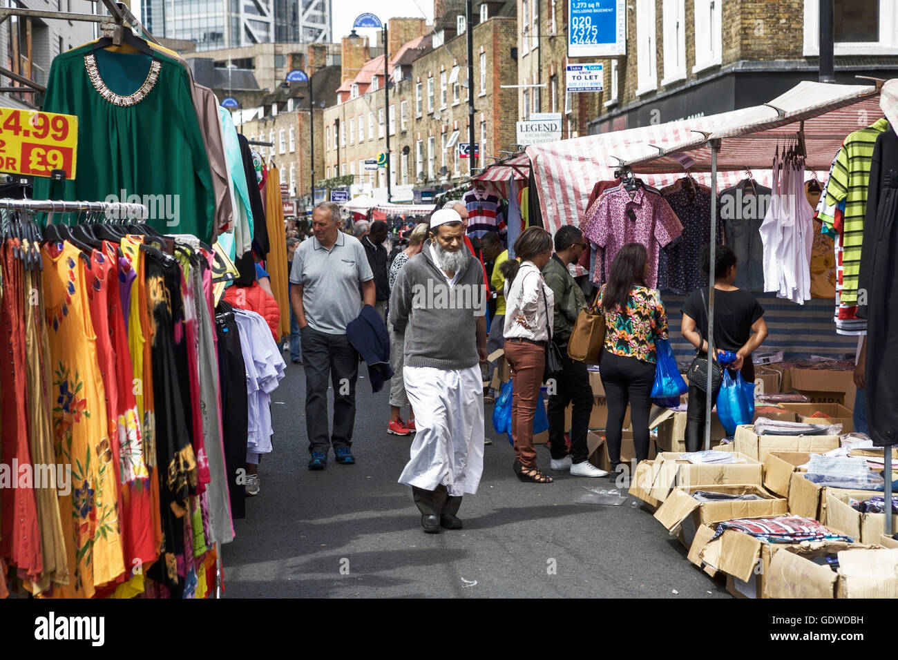 Petticoat Lane Market, East End market, Sunday market London street market UK. Multicultural London. Multi cultural Stock Photo