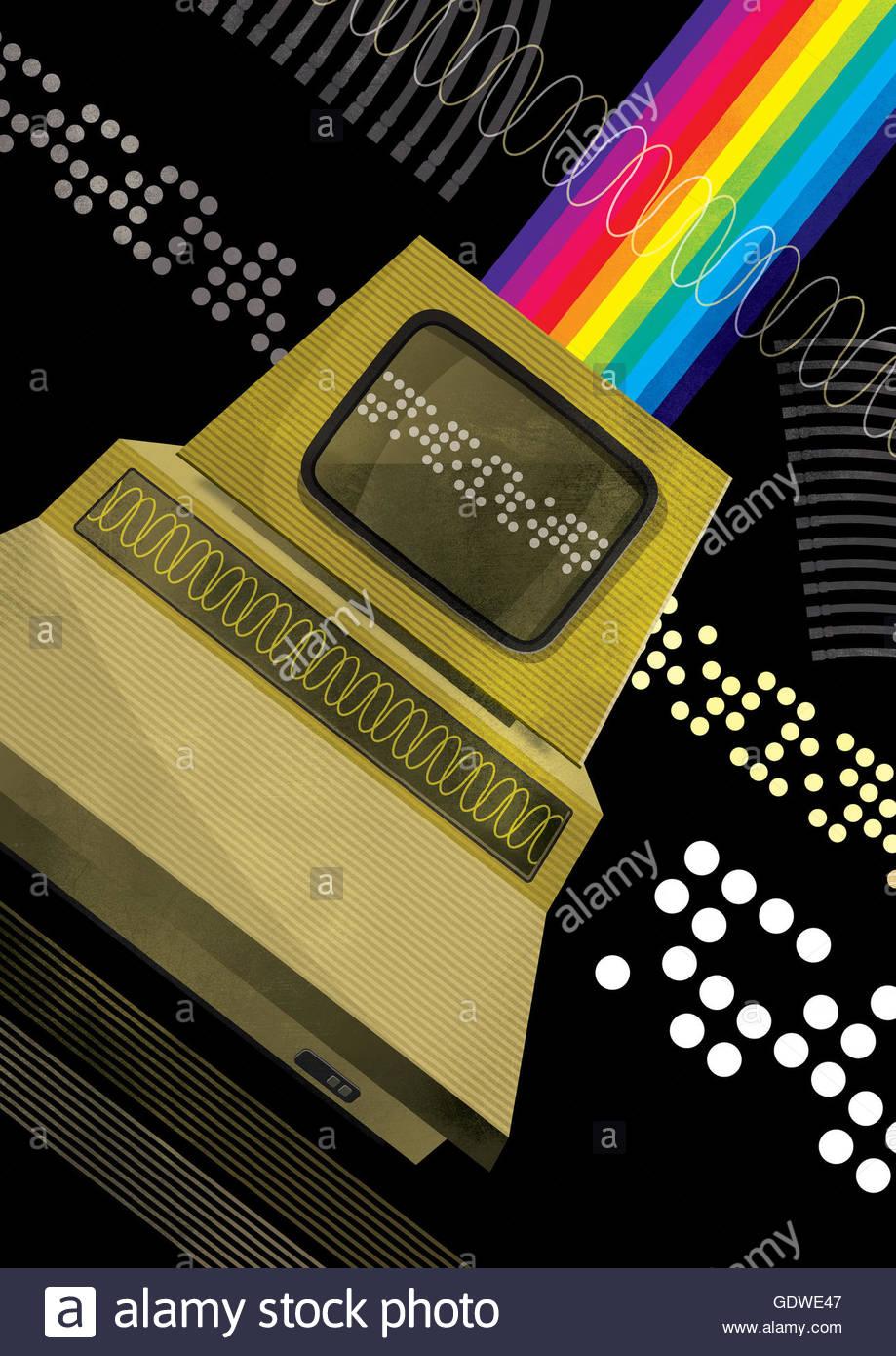 Retro personal computer with rainbow Stock Photo