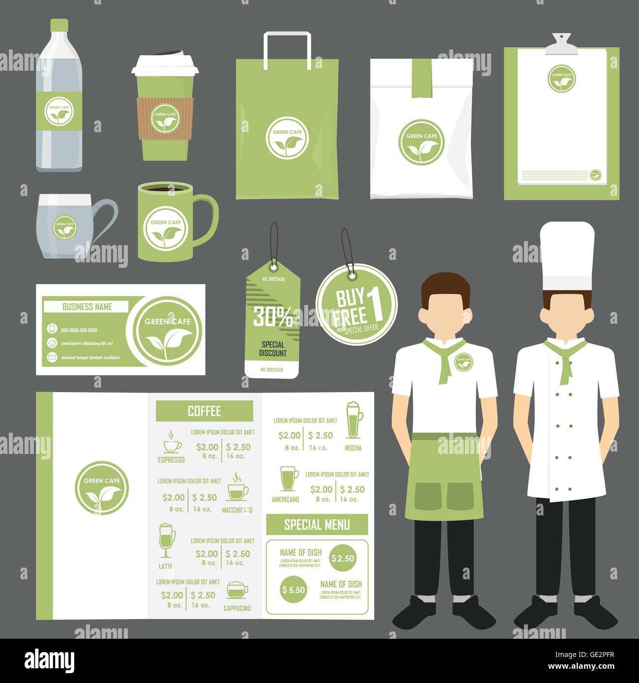 Restaurant coffee shop and cafe design flyer menu package stock restaurant coffee shop and cafe design flyer menu package business card uniform and display layout set of corporate identi reheart Choice Image