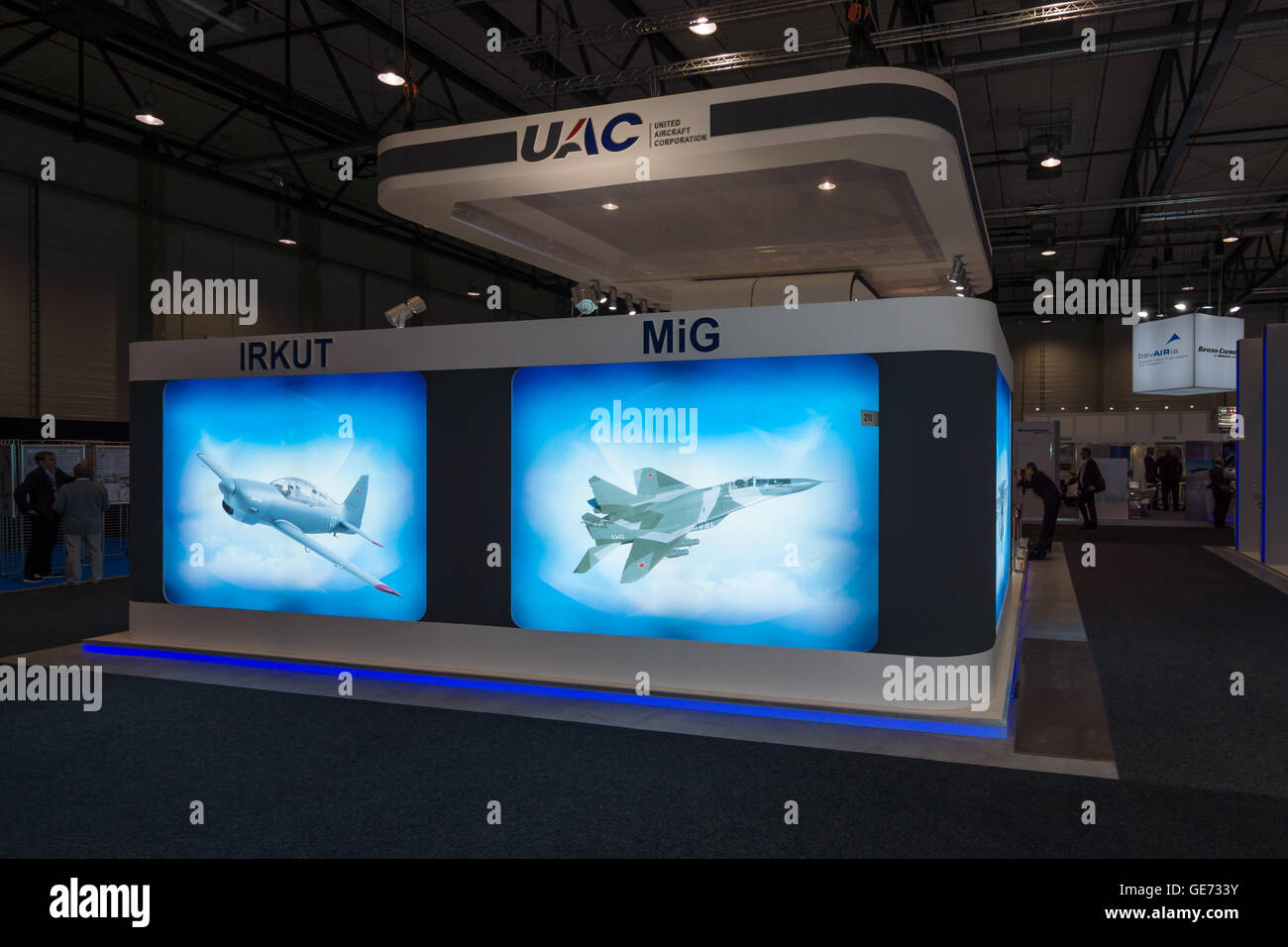 BERLIN, GERMANY - JUNE 01, 2016: The stand of Unated Aircraft Corporation (Russia). Exhibition ILA Berlin Air Show - Stock Image