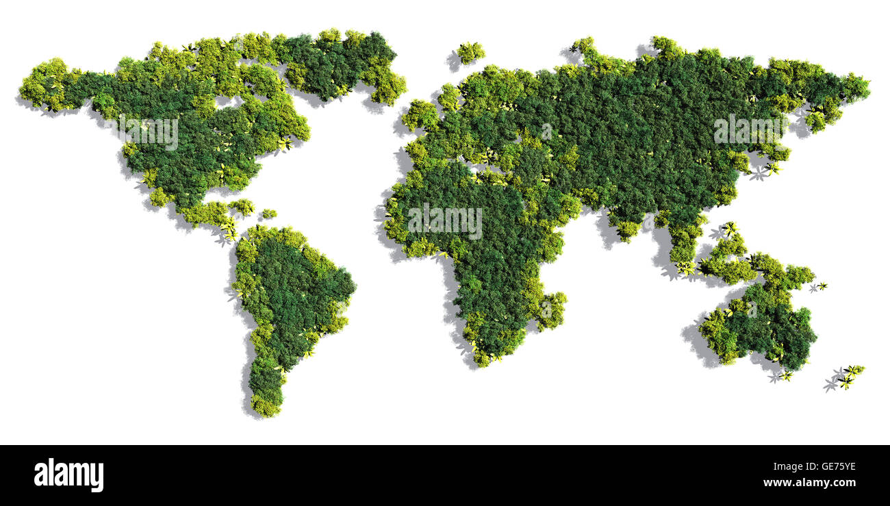 World map made up of various detailed trees on solid white background including the shadows - Stock Image