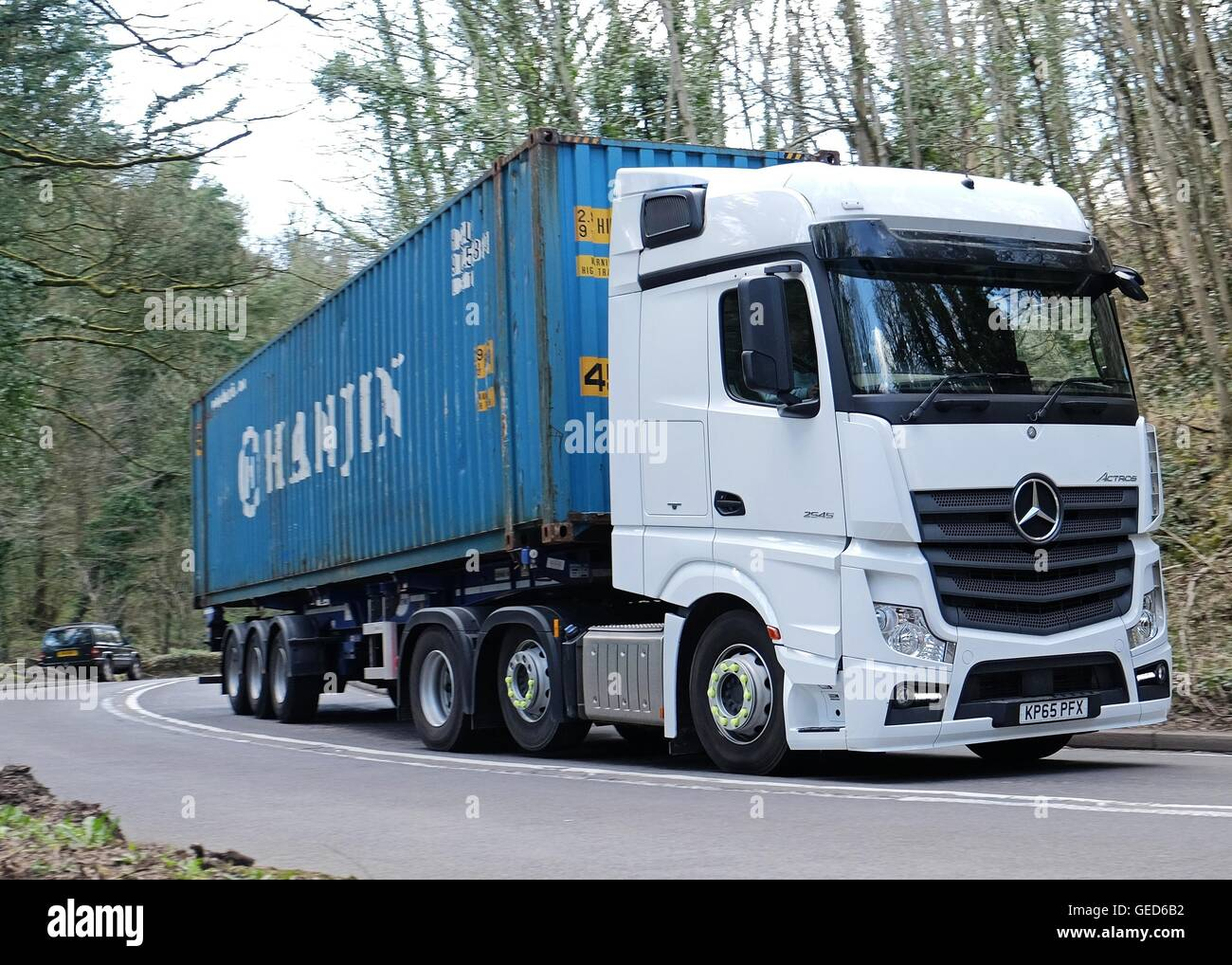 Mercedes Actros Tractor Unit Pulling Shipping Container Rounding A