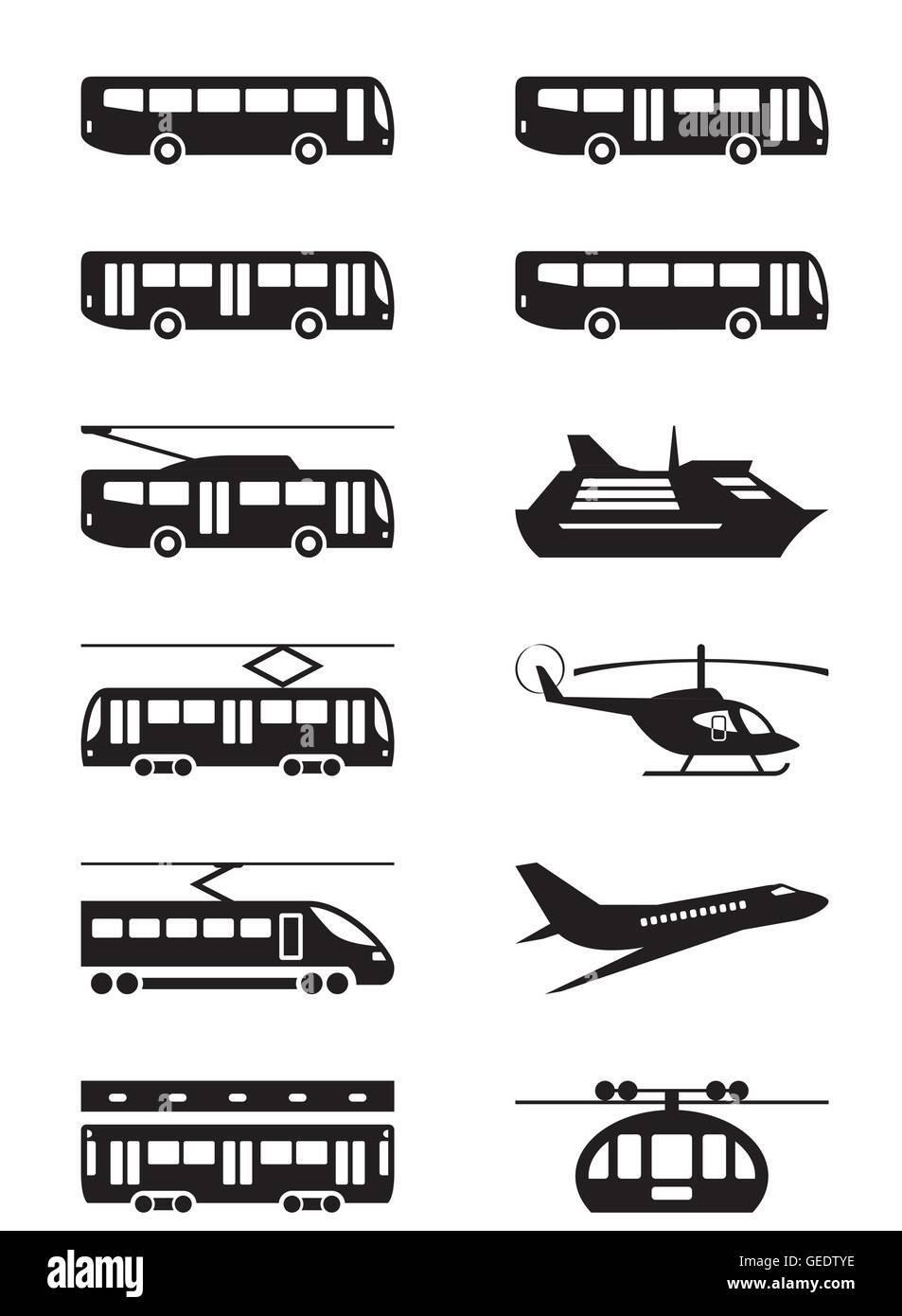 Passenger transportation vehicles - vector illustration - Stock Image
