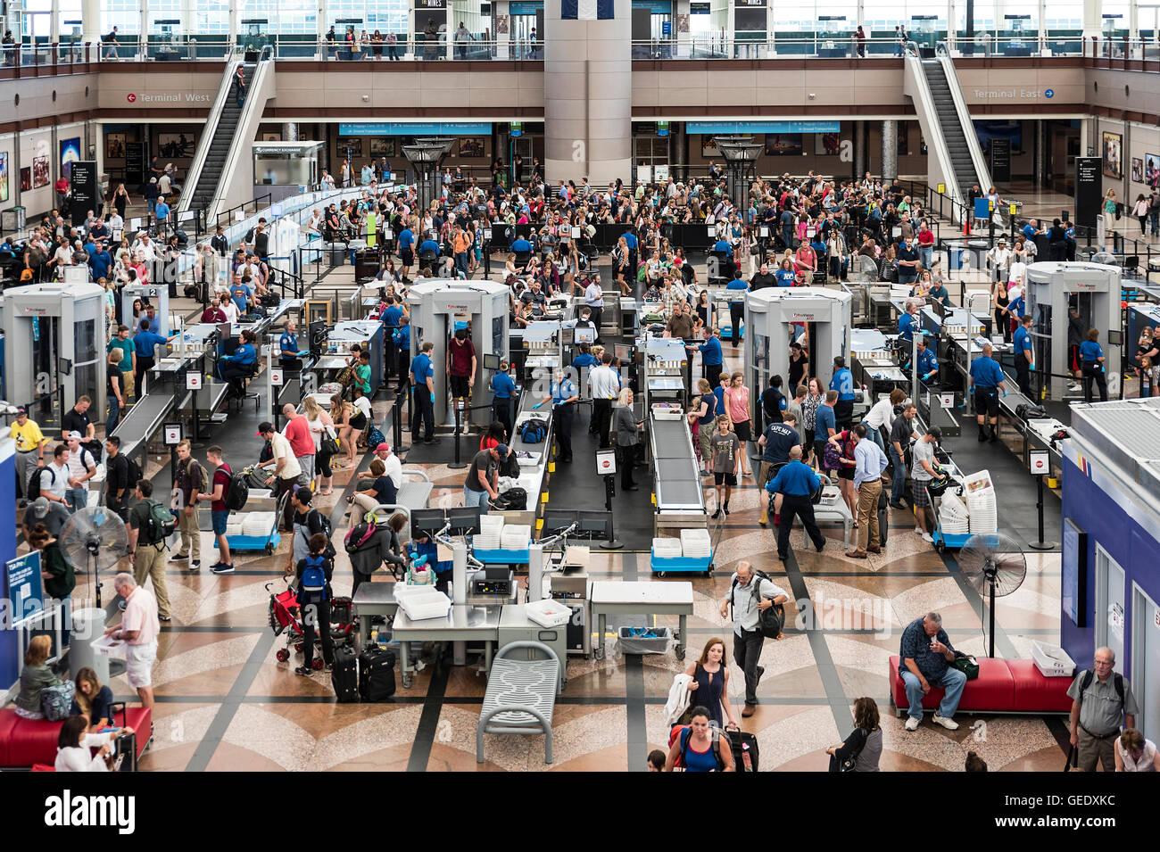 TSA security check, Denver airport, Colorado, USA Stock Photo