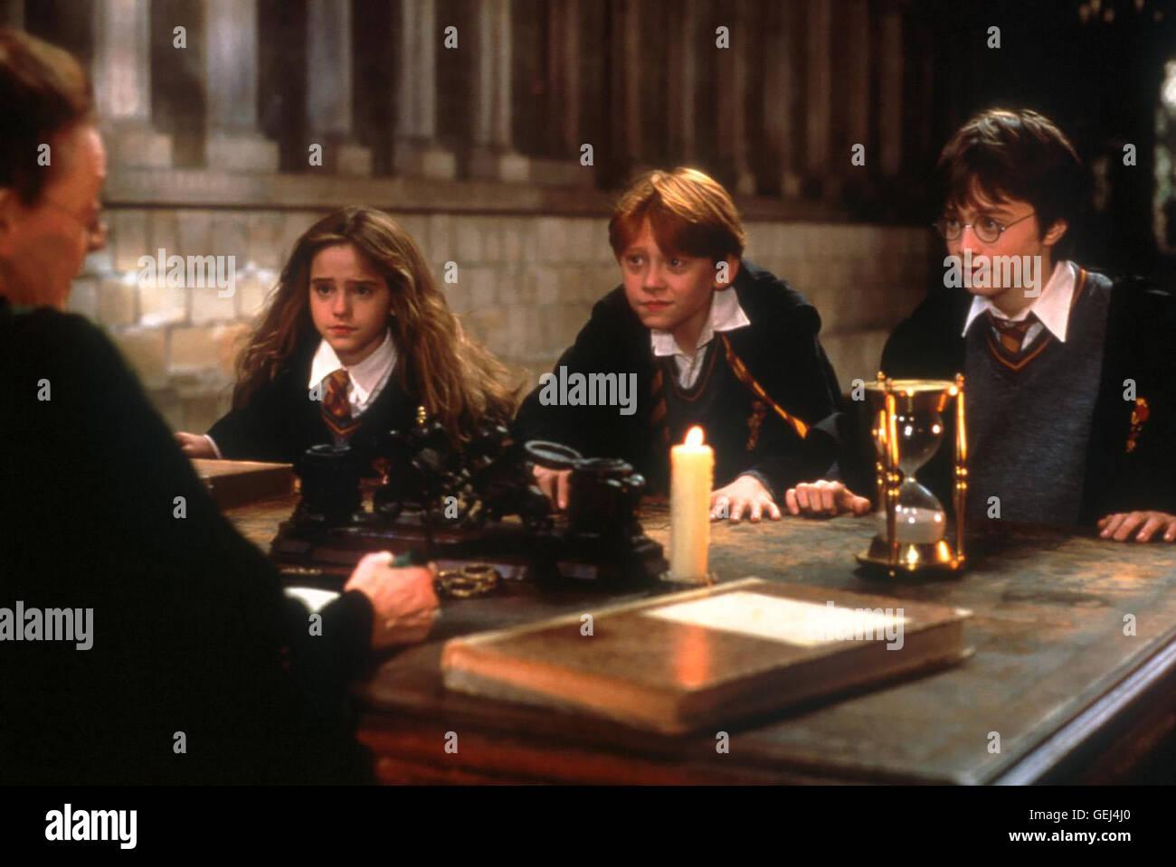 Emma Watson, Rupert Grint, Daniel Radcliffe,  Hermine (Emma Watson), Ron (Rupert Grint) und Harry (Daniel Radcliffe) - Stock Image