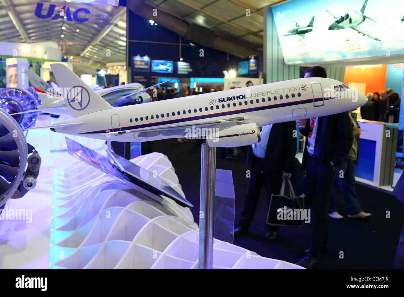 The stand of the Russian United Aircraft Corporation UAC at the Farnborough International Airshow 2016 - Stock Image