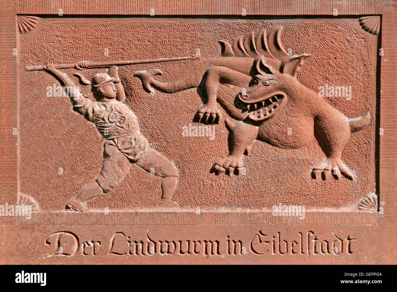 geography / travel, Germany, Bavaria, Eibelstadt, relief at the city wall, 'Der Lindwurm in Eibelstadt' - Stock Image