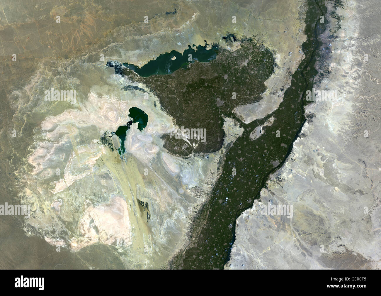 Satellite view of Faiyum Oasis Egypt Al Fayyum Oasis is a basin in