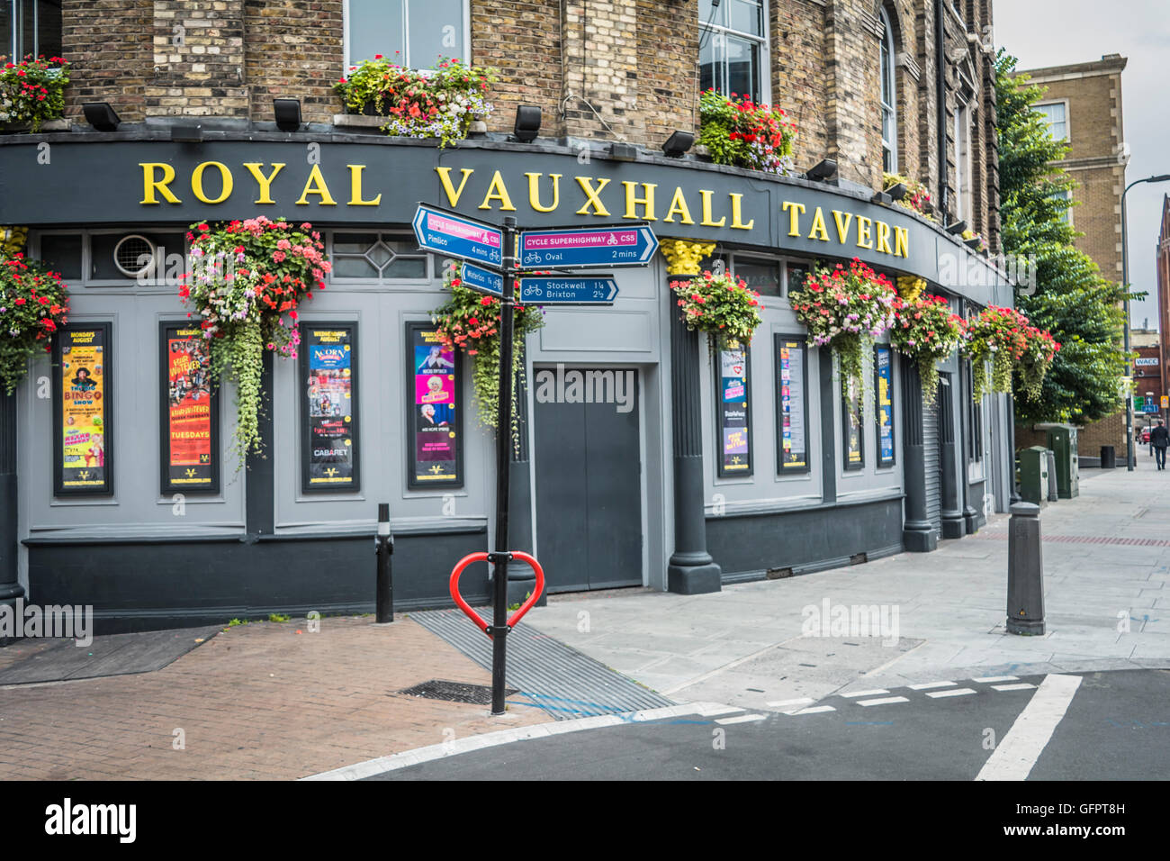 Exterior of the iconic gay pub the Royal Vauxhall Tavern in Lambeth, London, SE1. Stock Photo