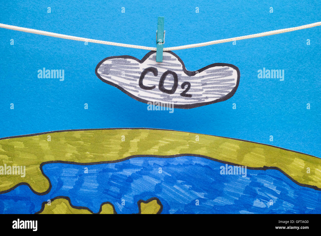 Carbon Dioxide Cloud (CO2) hanging above the Earth. Concept image. Close up. - Stock Image