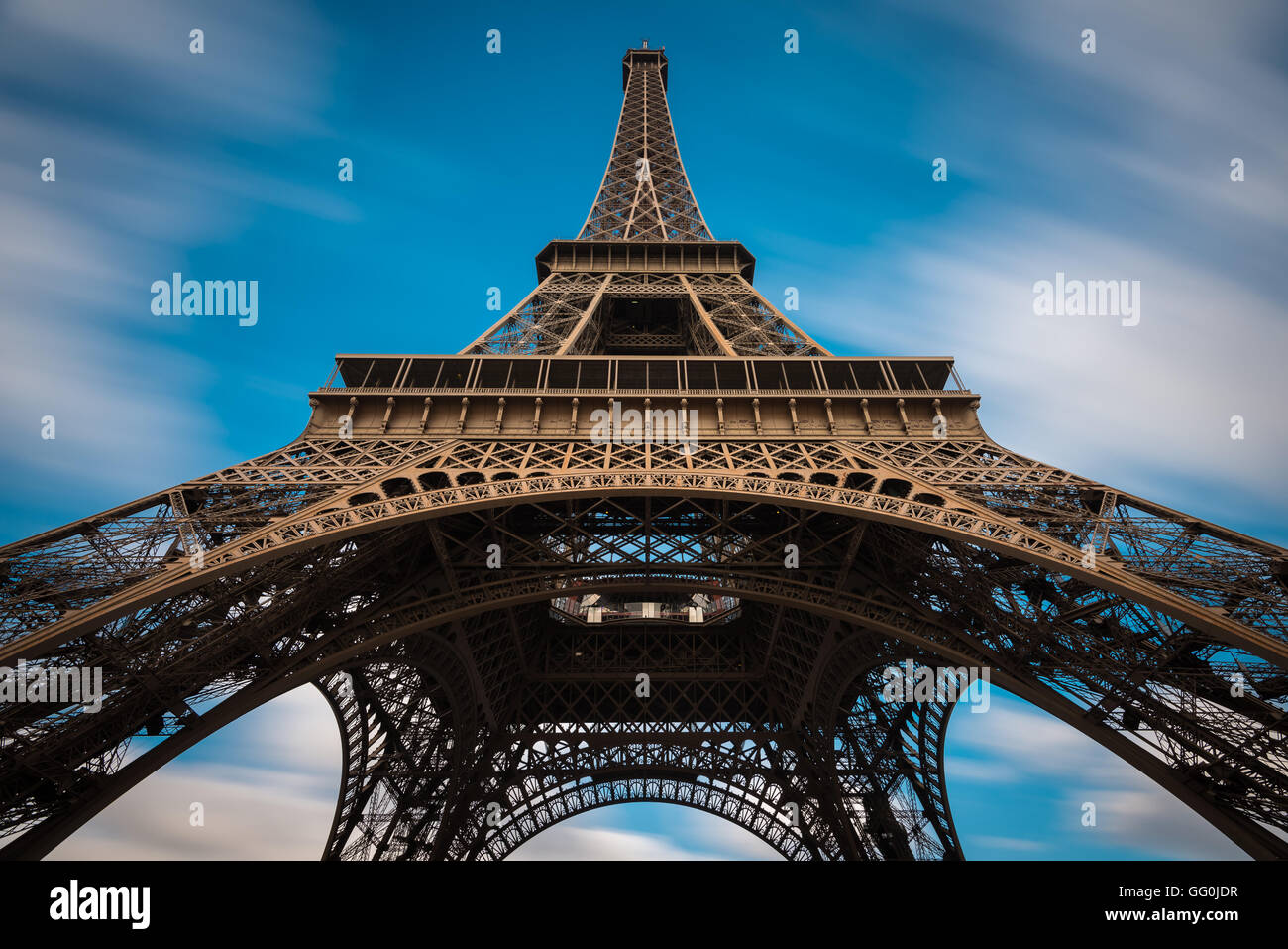 The Eiffel Tower (La tour Eiffel) on the Champ de Mars in Paris, France - Stock Image