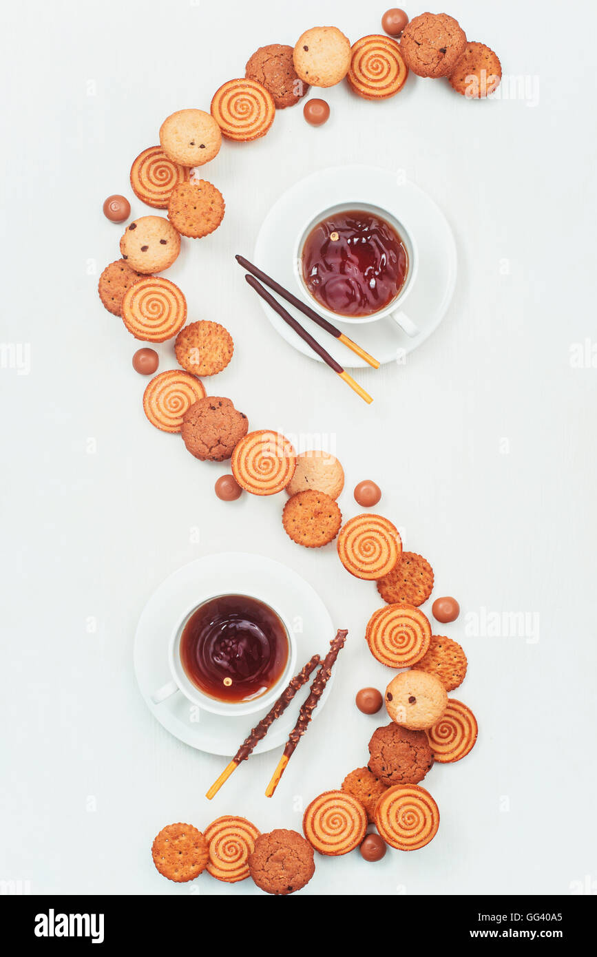 Coffee and cookies for two - Stock Image