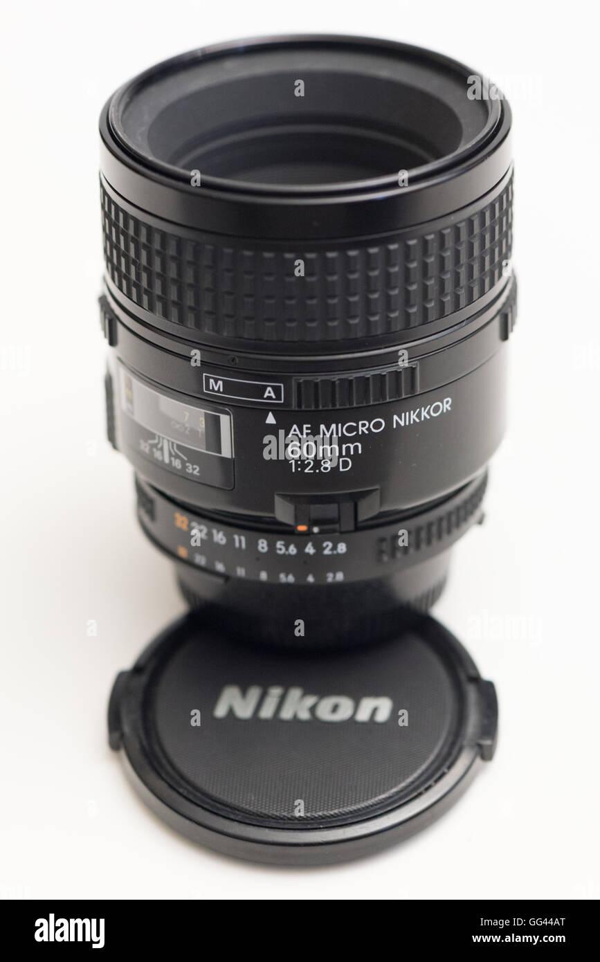 Paris, France - AF Micro Nikkor 60mm macro lens for Nikon DSLR - Stock Image