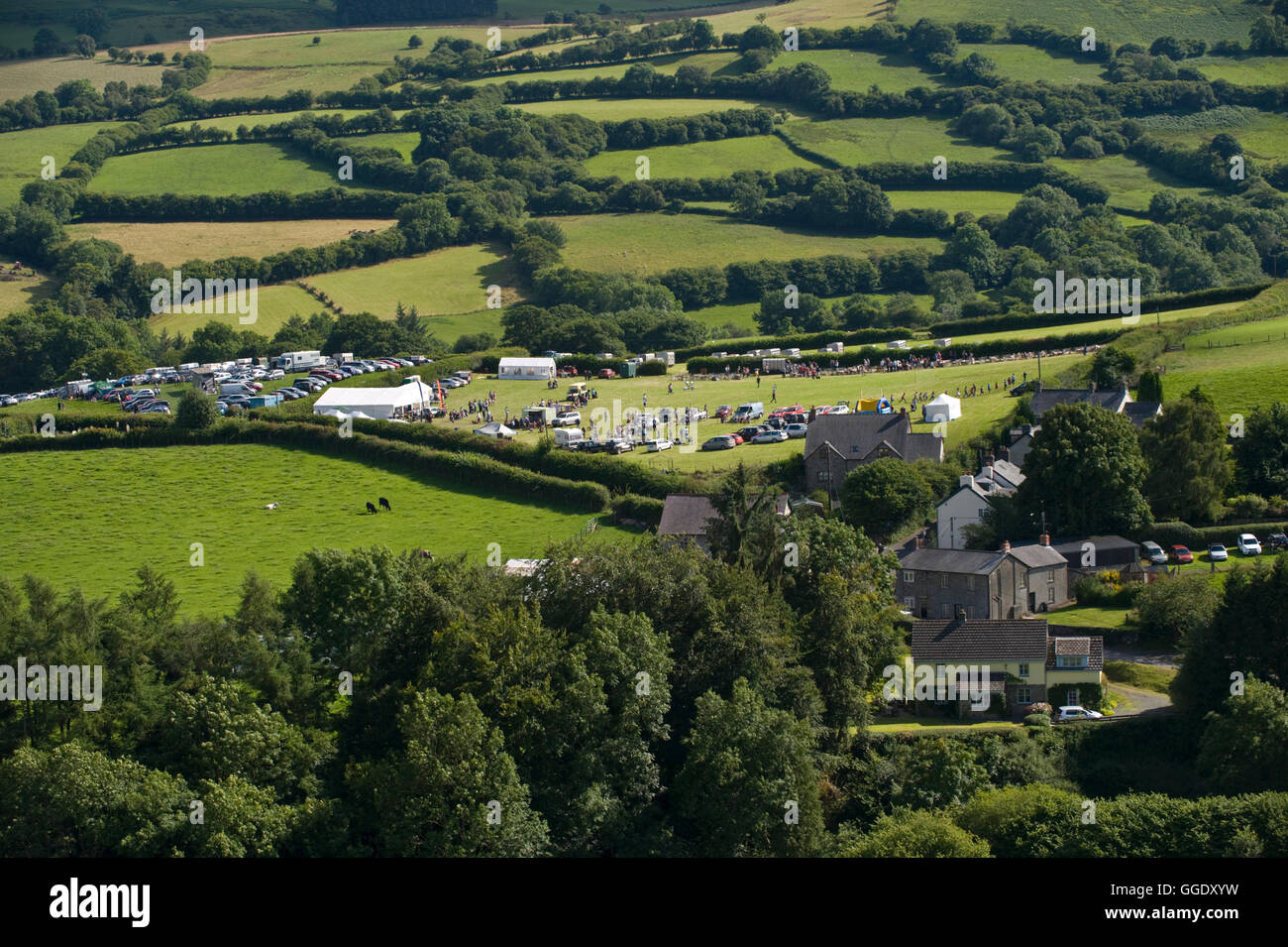 View over Gwenddwr Show and village, Gwenddwr, near Builth Wells, Powys, Wales, UK - Stock Image