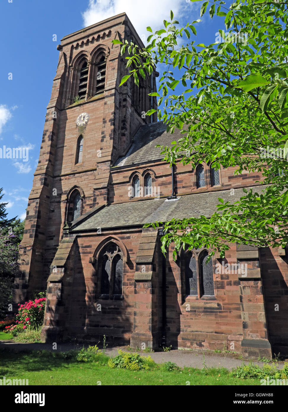 saint,Cheshire,England,UK,summer,National,Heritage,List,grade,2,II,Anglican,parish,stone,religion,place,of,worship,tower,bell,chapel,sun,sunny,summer,in,red,sandstone,with,Westmorland,slate,roof,St Matthews,National Heritage List,parish church,Bell Tower,GoTonySmith,@HotpixUK,HotpixUK,United,Kingdom,GB,English,British,Buy Pictures of,Buy Images Of,Images of,Stock Images,United Kingdom,Great Britain