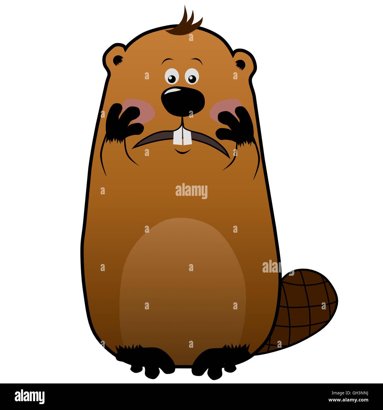 Embarassed cartoon beaver on white background, emotions - Stock Image