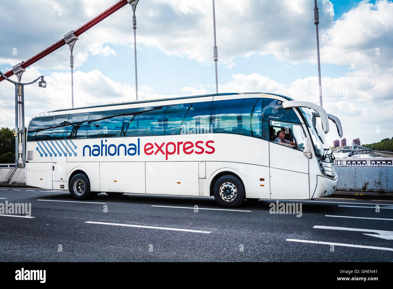 A National Express coach on the Albert Bridge in central London, UK Stock Photo