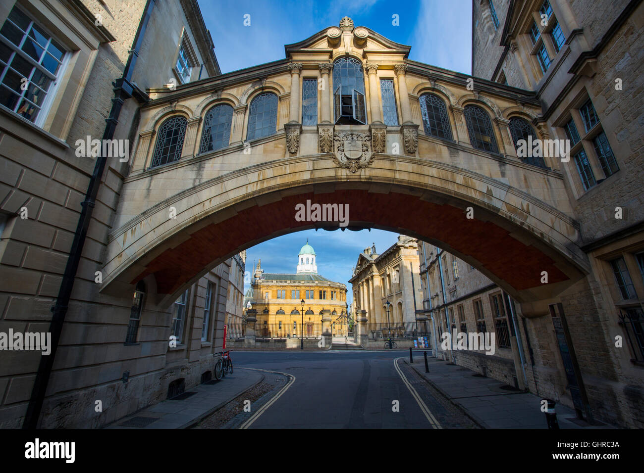 'Bridge of Sighs' walkway connecting two buildings of Hertford College over New College Lane, Oxford, Oxfordshire, - Stock Image