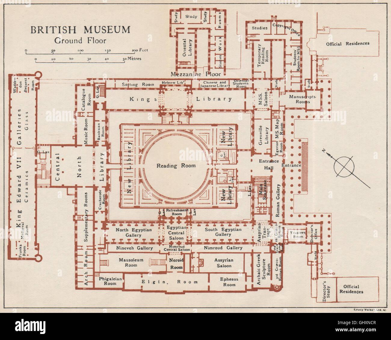 British Museum Ground Floor Vintage Map Plan London 1935 Stock