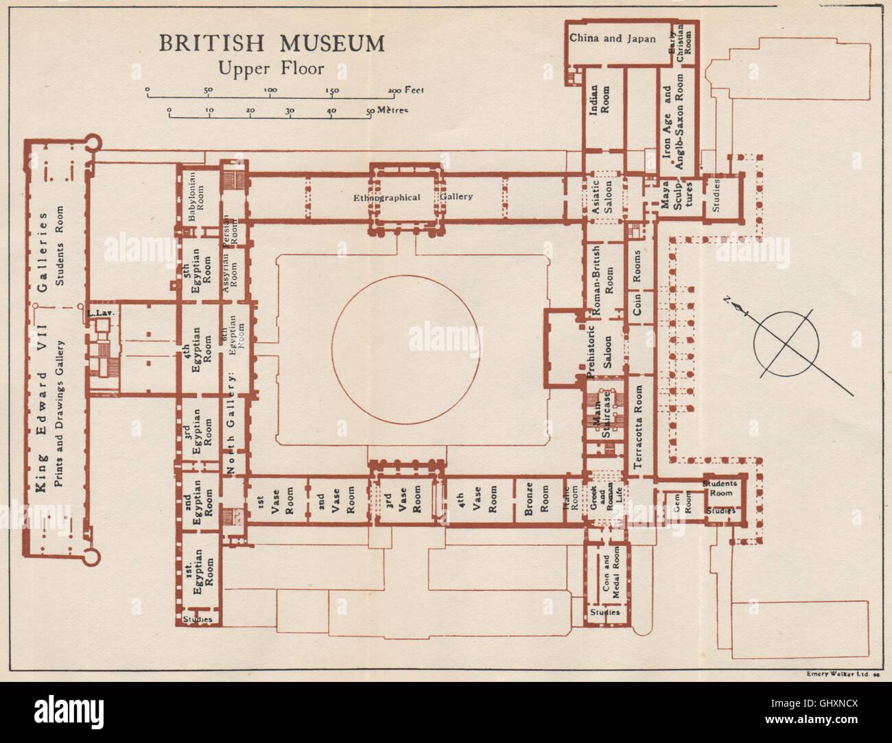 British Museum Upper Floor Vintage Map Plan London 1935 Stock
