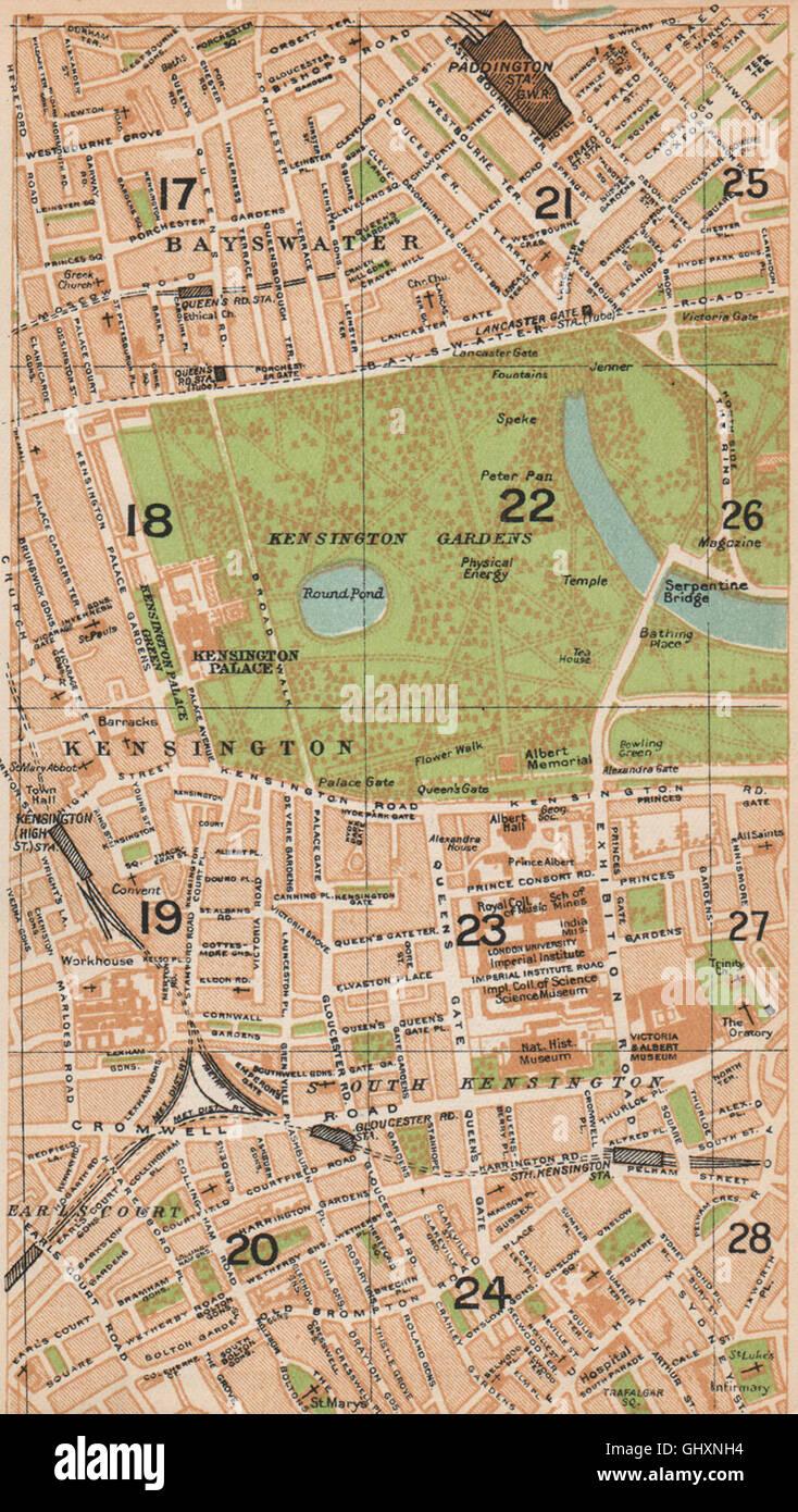 South Kensington London Map.London W Bayswater Earl S Court South Kensington Paddington 1935