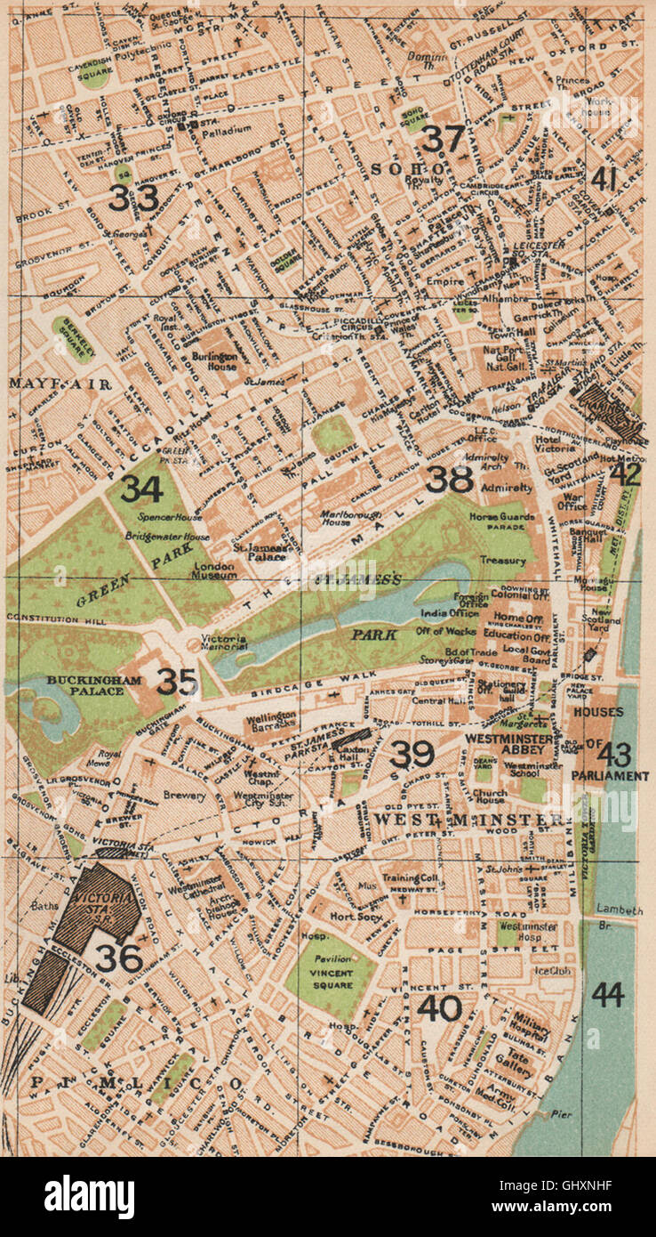 Pimlico London Map.London W Westminster Mayfair Soho Pimlico St James S West End 1935