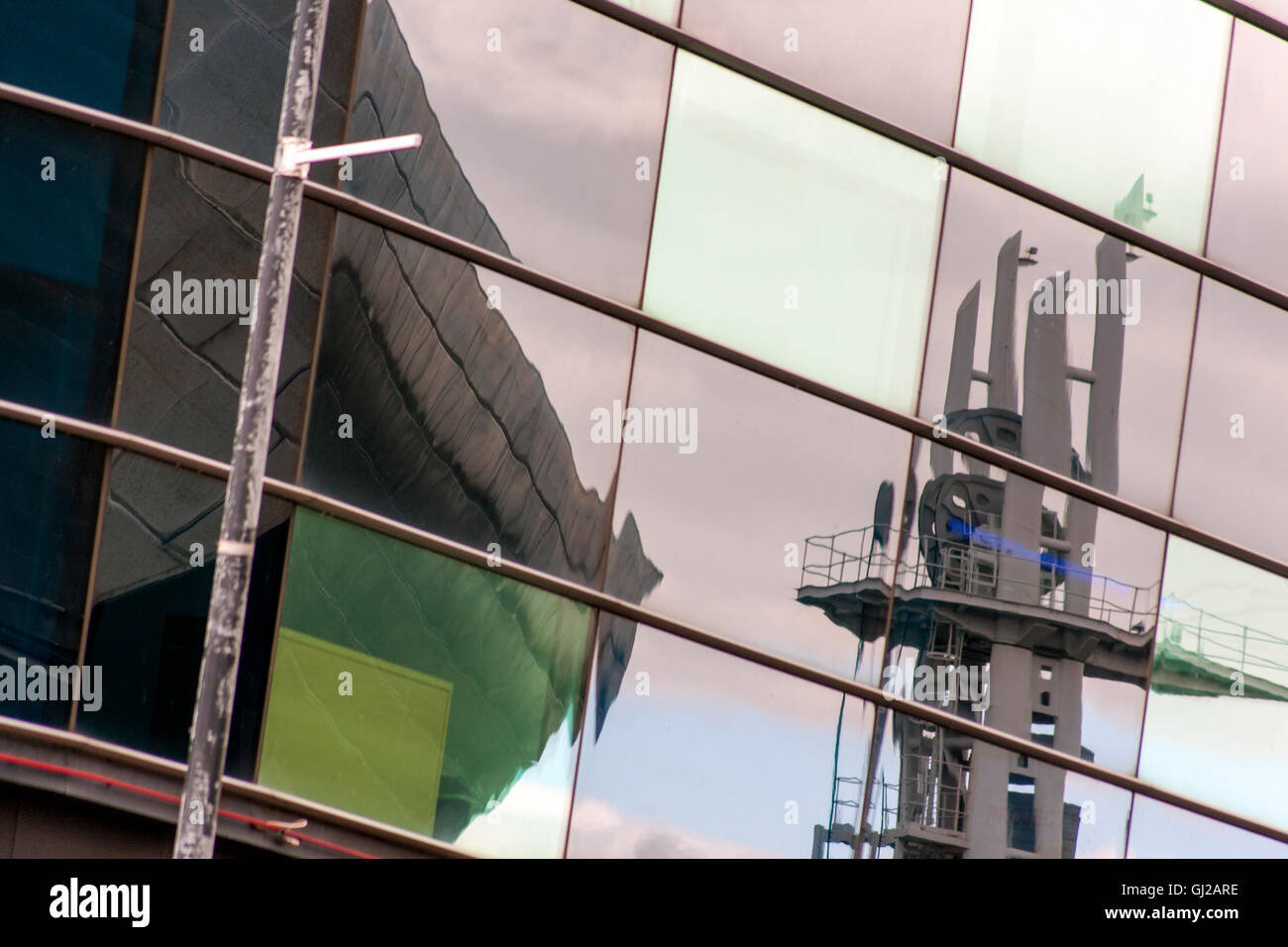 Reflections in Modern Glass Buildings Salford Quays - Stock Image