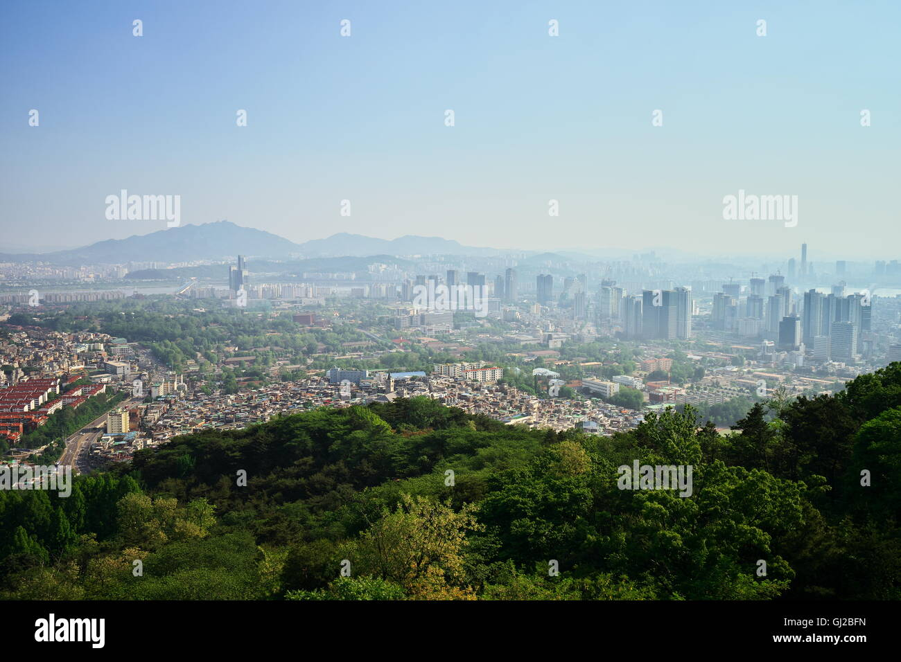 View of Seoul from N Seoul Tower, Namsan Park, Seoul - Stock Image