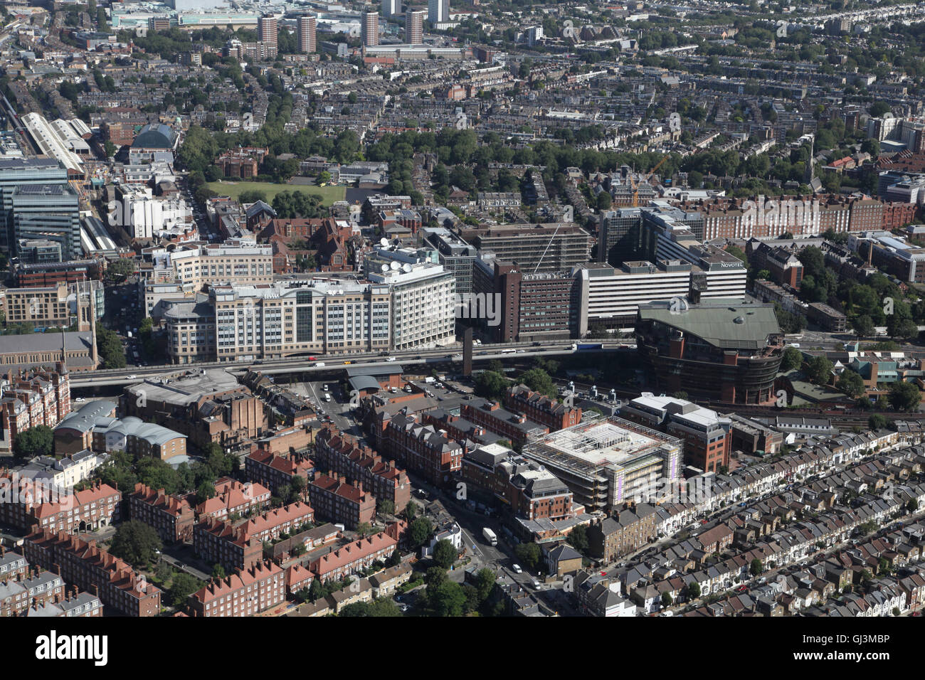 aerial view of Hammersmith, west London, including the A4 flyover, Broadway Shopping Centre, Novotel London West - Stock Image